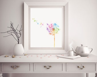 Dandelion Print - Watercolor Dandelion - Dandelion Art - Dandelion Watercolor Art - Nursery Decor - Dandelion Wall Art - Watercolor Prints
