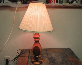vintage Hand Turned WOOD LAMP  with a dark wood and a light wood.  Mid century