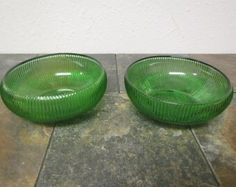 2 vintage E. O. BRODY Co. GREEN Ribbed BOWLS  :   Cleveland, Ohio / mid century