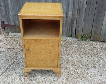 Vintage Walnut Veneered Bedside Cupboard