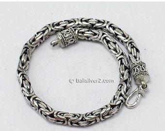 Vintage Sterling Silver 925  Byzantine  Ornate borobudur  Bracelets 5.0 mm 8.0  inches long