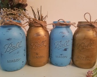 Distressed Mason Jar, Painted Mason Jar, Wedding, Baby Shower, Blue and Gold, Set of 4