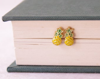Tiny Pineapple Earrings / Pineapple Stud Earrrings / Fruit Earrings / Kawaii Earrings / Tropical Studs * Gift / Stocking Stuffer