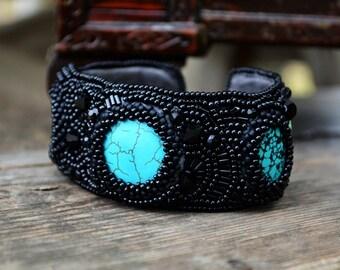 Turquoise cuff bracelet Beaded wrist cuff Black cuff bracelet Bead embroidery cuff bracelet Beadwork cuff bracelet Gift idea/for/women gift