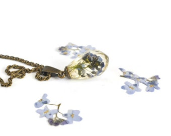 Drop shape pendant with real blue Forget Me Not flowers Handmade resin real flower necklace Forget me not jewelry