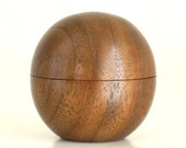 Tiny Sphere Box Handcrafted in Walnut with Magnetic Lid
