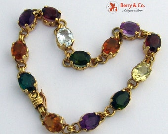 Multi Colored Gemstone Bracelet 18 K Gold