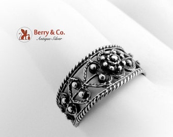 SaLe! sALe! Vintage Filigree Ring Sterling Silver 1920