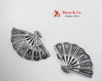 SaLe! sALe! Vintage Niello Figural Fan Clip Earrings Sterling Silver 1940