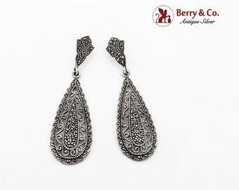 SaLe! sALe! Long Openwork Marcasite Dangle Earrings Sterling Silver