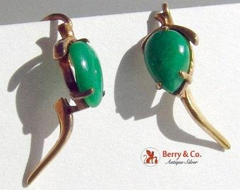 SaLe! sALe! Vintage Jade and 14K Yellow Gold Earrings