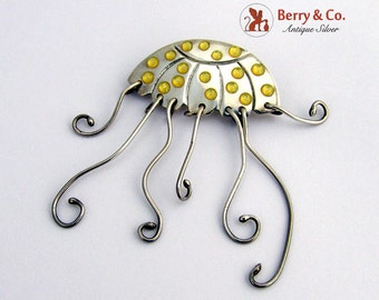 Jelly Fish Brooch Sterling Silver Signed A and J Harvey