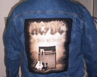 ac/dc. acdc ,ac dc large used denim jacket mens .rock backpatch