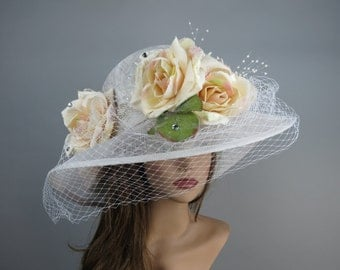 White Sinamay Wedding Tea Hat Bridal Hat Kentucky Derby Hat Party Summer Hat Women Hat