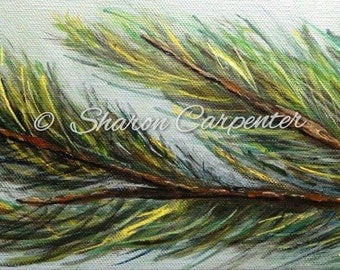 Painting on Canvas Pine Needles Original Acrylic Painting