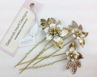 Bridal hair pins -  wedding hair pins, bridal flower hair accessories pin set