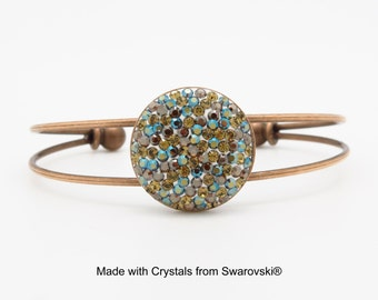 Khaki green bronze and blue rhinestone handset medaillon cuff bracelet - Nantes Collection By Eugénie