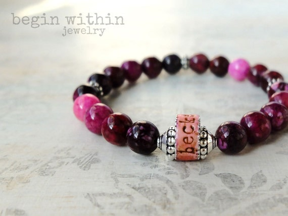 Mama Bracelet / Sugilite Personalized Mother's Jewelry with Child's Names / Mother's Gift