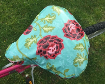 Premium Laminated cotton, waterproof cruiser bike seat cover teal and red lotus flower print  bike accessory