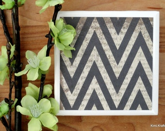 Chevron Coasters - Ceramic Tile Coasters - Coaster Set - Table Coasters - Black Coasters - Coaster - Tile Coaster - Chevron Decor