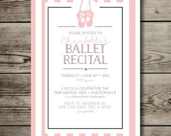 printable BALLET RECITAL shower invitation / 5x7