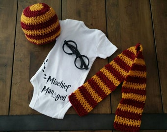 Harry Potter photo prop set. Including onesie, glasses, hat, and scarf. Gryffindor costume. Hogwarts wizard muggle