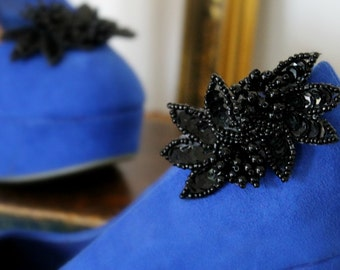 Vintage Black Beaded & Sequin Shoe Clips