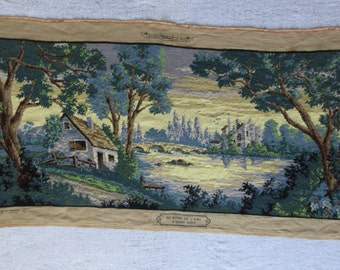 Completed Large Tapestry, Countryside Scene with Beautiful Soft Blues, Vintage French, Hand Stitched in Cotton, Creations Margot de Paris
