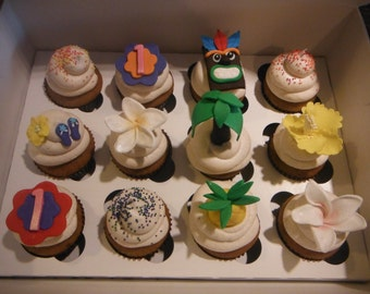Hawaiian themed Cupcake toppers
