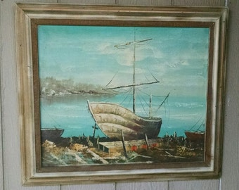 Vintage Impressionism Midcentury Modern Original Oil Canvas Painting Nautical Ship Sailing Boat Dock Harbor Scenery Signed H Russell REDUCED