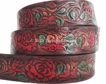 Rose Leather Name Belt - Colors available