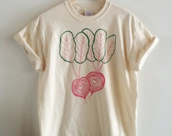 Chiogga Beet Screen Printed T Shirt, Vegetable Print