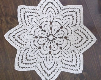 Crochet Doily Table Topper in Ecru Cream