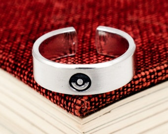 Pokeball Ring - Pokemon - Video Game Jewelry - Adjustable Aluminum Cuff Ring