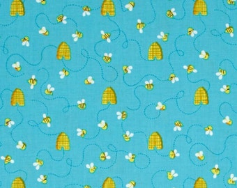 Bee Fabric by the Yard, Hive, Quilt, Cotton, Novelty, Bumble, Honey, Bug, Blue, Yellow, Turquoise, Small Print, Childrens, Craft, Decor