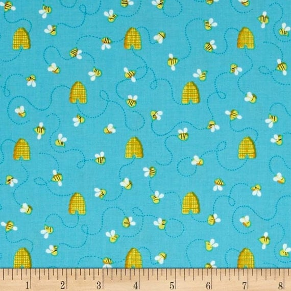 Bee fabric by the yard hive quilt cotton novelty for Novelty children s fabric
