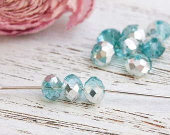 10 pcs Sparkly Rondelles, Faceted Rondelle Beads, Crystal Beads For Jewelry - Sparkly Silver Blue