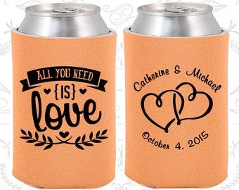 Peach Wedding, Can Coolers, Peach Wedding Favors, Peach Wedding Gift, Peach Party Gift (409)