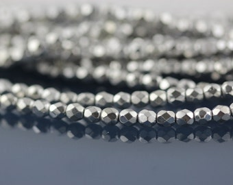 50 Silver, 4mm Czech fire polish glass faceted round beads (FP-4M-53)