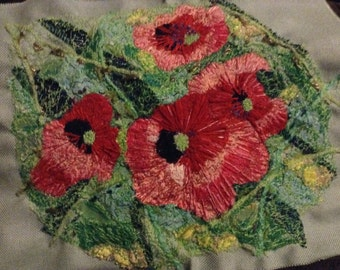 Poppies textile art. Commission made.