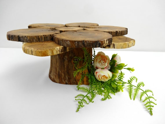 Rustic wood centerpiece cake stand by daliaswoodland