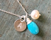 Turquoise necklace for her bridesmaid necklace gift personalized necklace for bridesmaid December birthstone jewelry  Ella