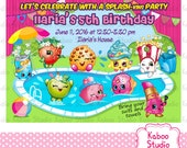 DIGITAL Shopkins Pool Birthday Party invitation - YOU PRINT yourself