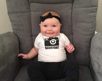 Photographer's Assistant Baby bodysuit, Photographer baby one-piece, Camera print, baby clothes, camera baby shirt, photography, new baby.