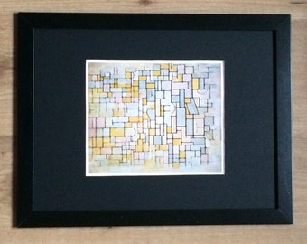 "Framed and Mounted Composition Number 7 Print by Piet Mondrian 16"" x 12"""