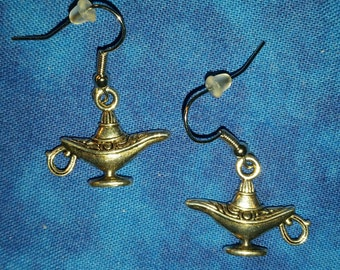 Magic Lamp - Genie Earrings - Tibetan Silver