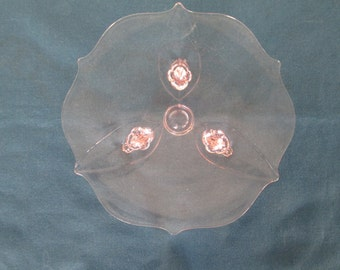 Lancaster Pink Depression Glass Scalloped Footed Plate Vintage Glassware Collectibles Serving Dining