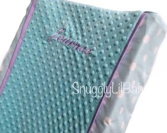 Aqua dot, lavender changing pad cover with aqua polka dots
