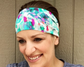 Workout Headband - The Featherweight Yoga Headband - Running Yoga Gift - Stretch Headband || watercolor