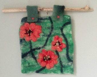 Felt flower picture,wall hanging,needle felt, original,spring flowers